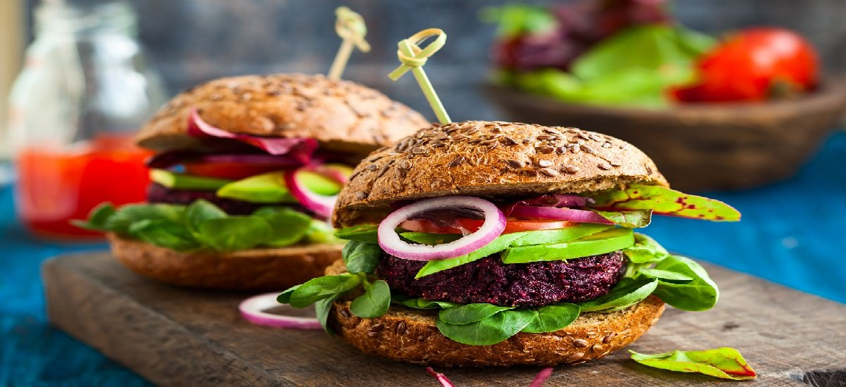 Veggie beet and quinoa burger with avocado; Shutterstock ID 267497981; Departmental Cost Code : Not Synced SSTK Images; Project Code : Not Synced SSTK Images; PO Number: Not Synced SSTK Images