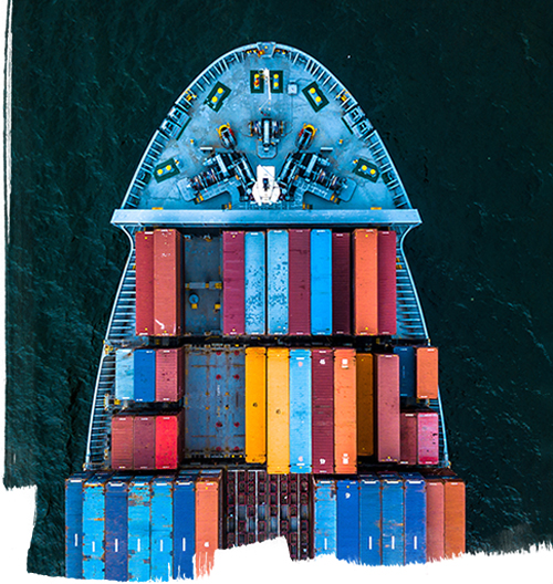International Container Cargo ship in operation.