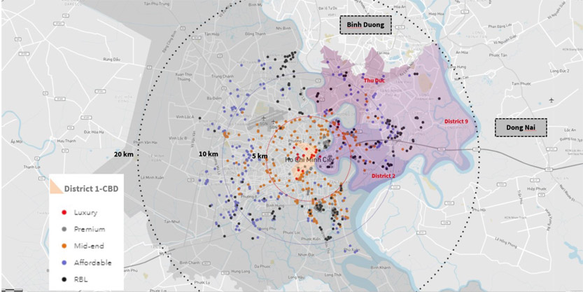 Map of HCMC's cumulative launches at end-3Q20