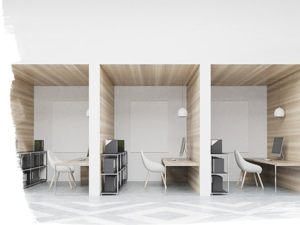 desks separated by walls to encourage spacing